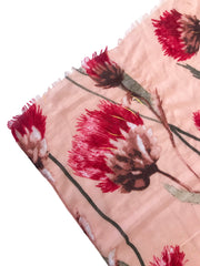 Light Pink and Red Floral Print Scarf