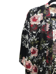 Green and Red Short Floral Print Kimono