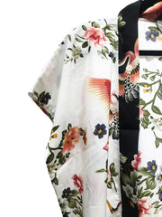 White and Red Flamingo Print Kimono