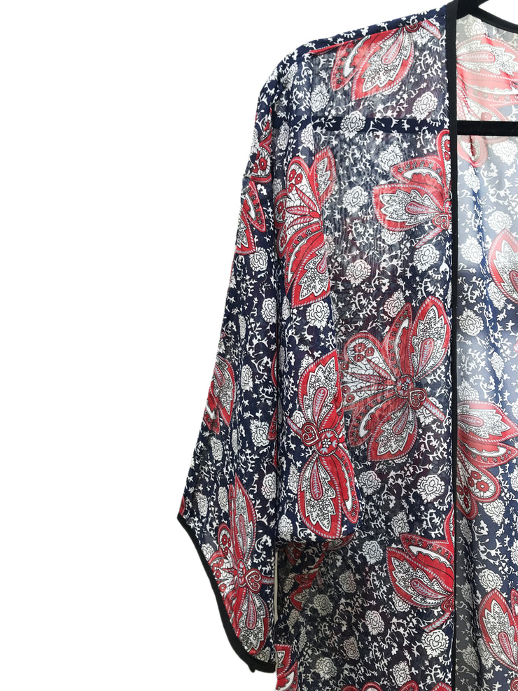 Women's Kimono Red and Black Paisley Print