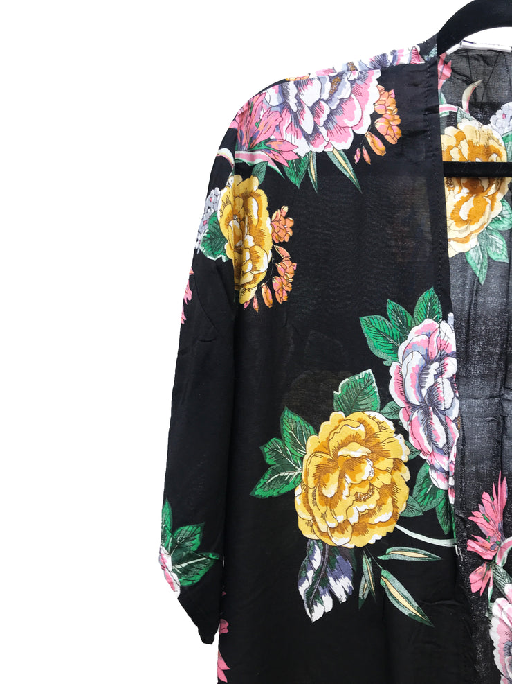 Black and Yellow Floral Print Kimono