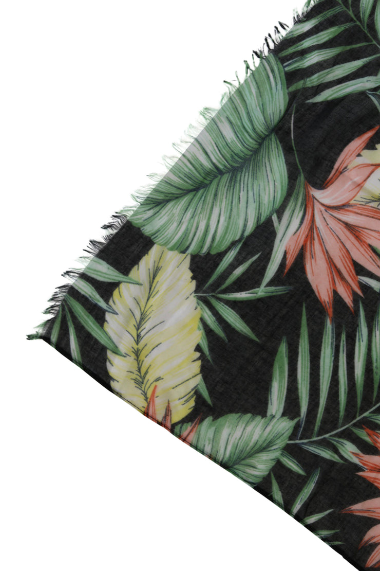 Black Tropical Print Scarf