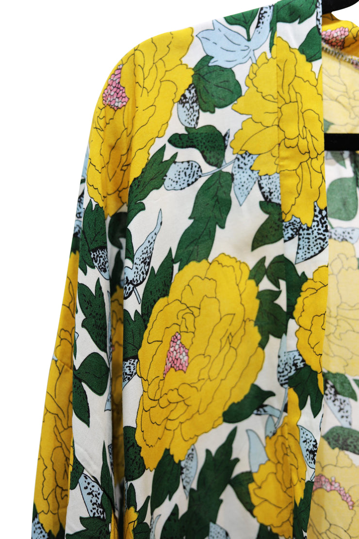 Yellow and Green Short Kimono