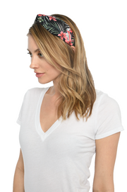 Black Tropical Print Knotted Headband
