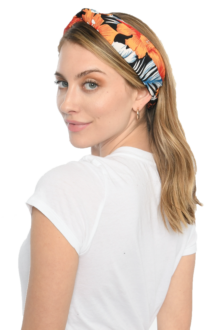 Orange Floral Print Twist Headband