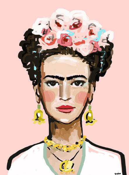 "Frida Portrait Print on Paper OR Canvas, ""Frida Pink"""