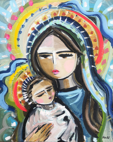 "Original Painting on Canvas ""Madonna and Child"""