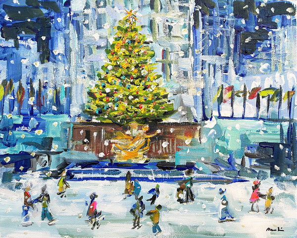 New York Ice Skating Print on Paper or Canvas