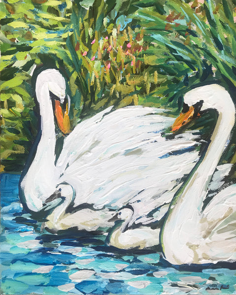 "Original Painting on Canvas, ""Swans"" 11"" x 14"