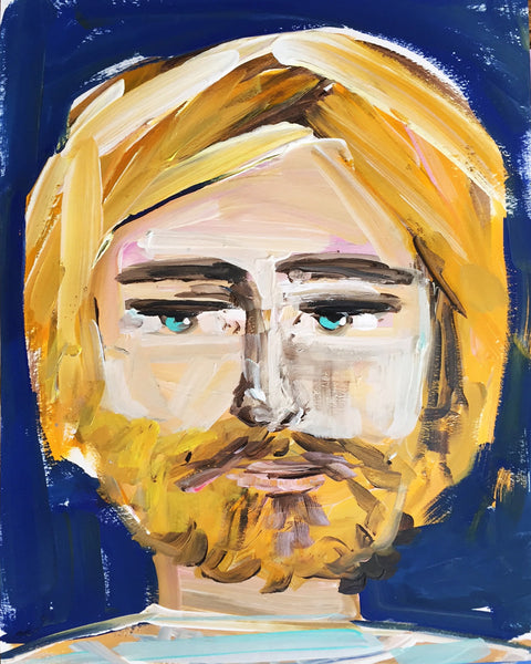 "Bearded Man Portrait on Paper or Canvas ""Joe"""