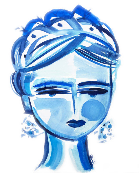 Copy of Woman Portrait PRINT, Blue and White, Paper or Canvas,