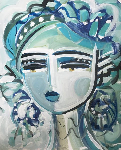 "Portrait Original Painting on Canvas, ""Blugirl30"""