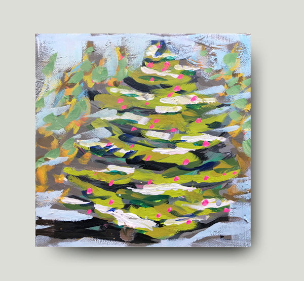 "Christmas Print on Paper or Canvas ""Christmas Tree with Pink"""