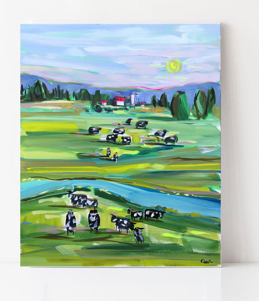 "Abstract Farm Print on Paper or Canvas, ""Cows at Sunset"""