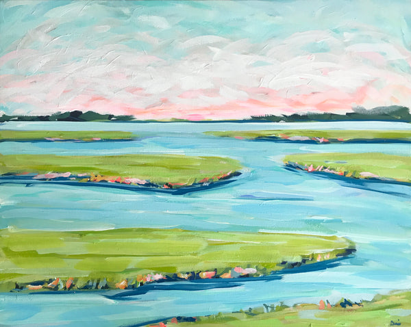 Abstract Marsh Painting on Canvas, 24x30 on Canvas,