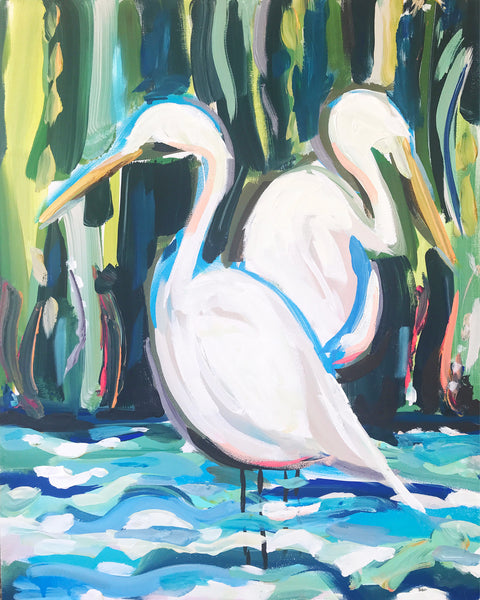 "Egrets Print on Paper or Canvas, ""Egrets 2"""