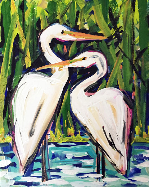Egrets Print on Paper or Canvas,