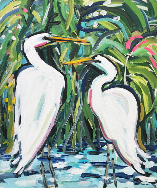 "Original Painting on Canvas, ""Egrets in the Reeds"" 20"" x 24"""