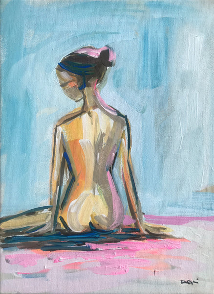 "Original Figure Painting on Canvas ""Figure on Blue"" 8x10"