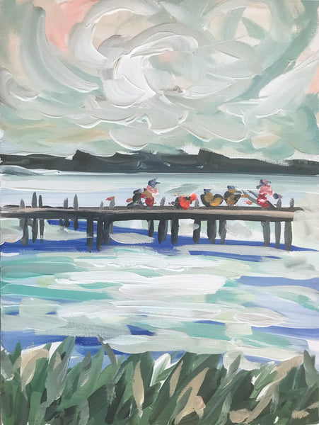 Fishing painting on canvas, original art,