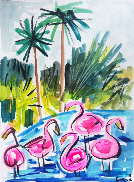 "Flamingos Print on Paper or Canvas ""Flamingos in the Water"""
