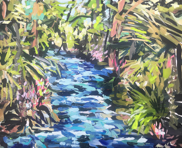 "Original Painting on Canvas, Florida Series, ""Springs with Palmetto""  20"" x 24"""