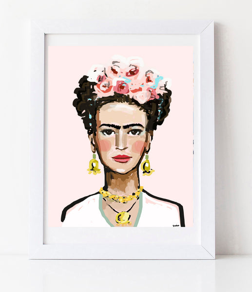 "Frida Portrait Print on Paper OR Canvas, ""Frida Pink'"