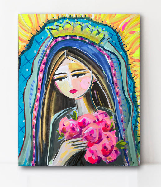 "Our Lady of Guadalupe Portrait on Paper or Canvas ""Mary with Castilian Roses"""""