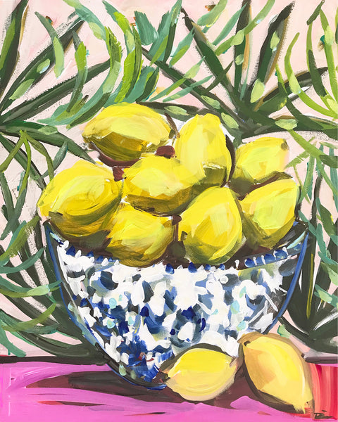 Lemons Still Life, citrus series, maren devine, lemon print