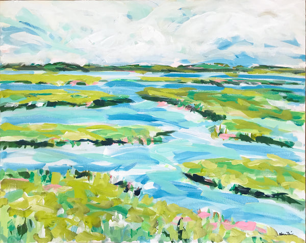 "Original Marsh Painting on Canvas, Abstract, ""Lively Marsh"" 24x30"