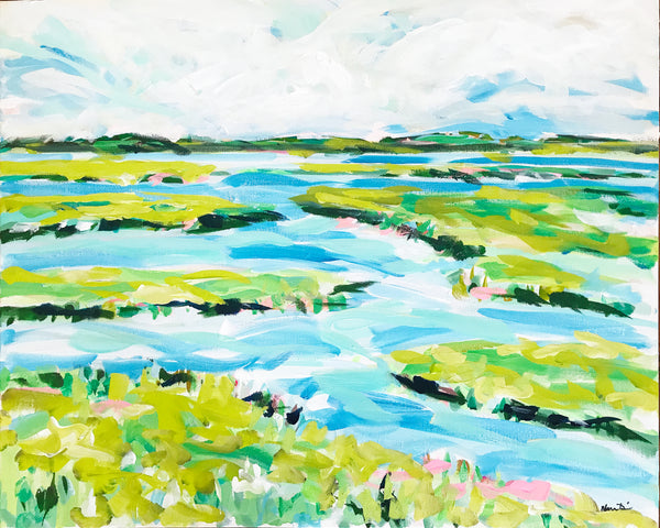 "Abstract Marsh Print on Paper or Canvas, ""Lively Marsh"""