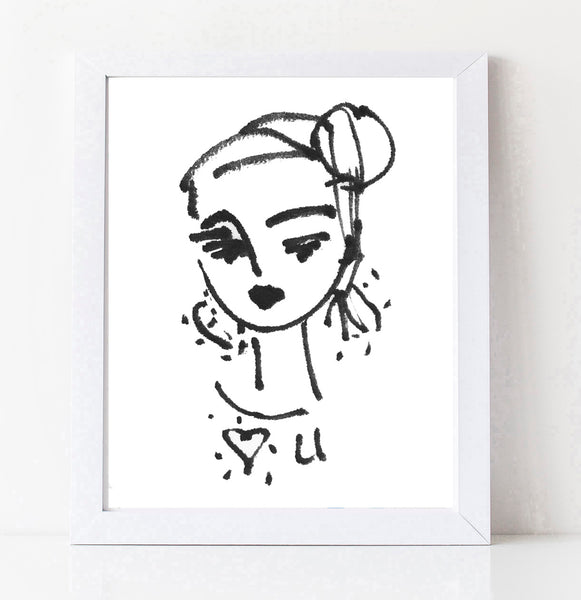 Stylized and Sketchy Girl Portrait PRINT,