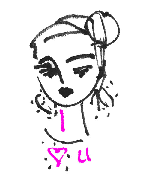 "Stylized and Sketchy Girl Portrait PRINT, ""Luv U"" with PINK"