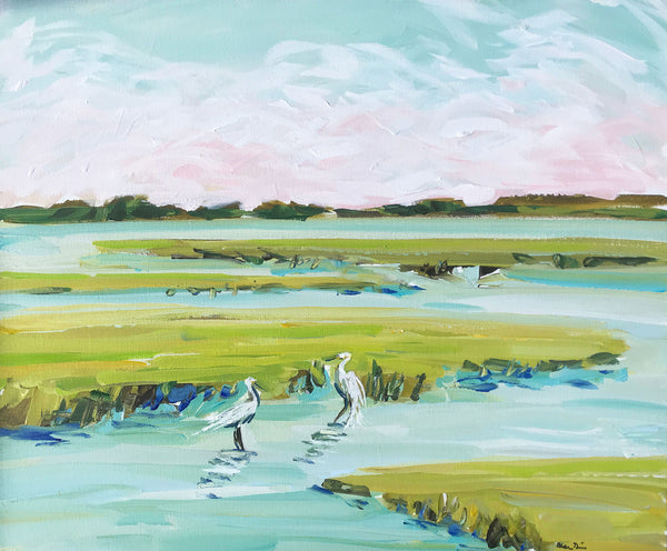 "Original Painting on Canvas, ""Marsh Egrets"" 20"" x 24"""