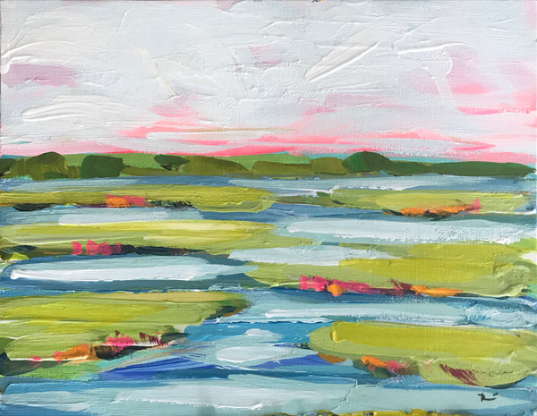"Original Small Painting on Canvas Board, ""Marsh 2"""