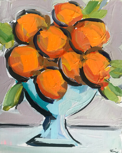 "Original Small Painting on Canvas Board, ""Orange Bowl"""