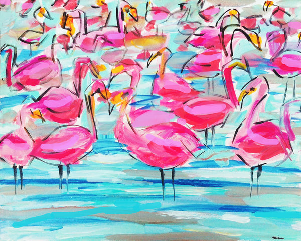 Flamingos Print on Paper or Canvas