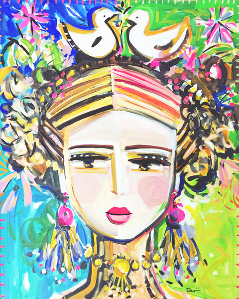 "Frida Portrait Print on Paper OR Canvas, ""Frida Modern 3'"