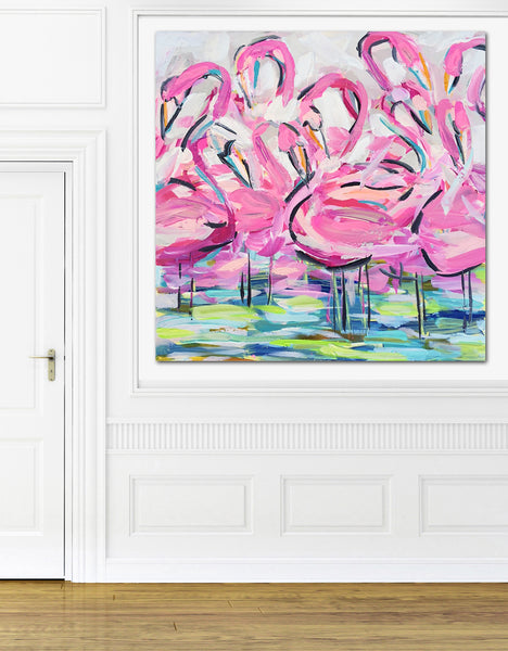 "Flamingo Print on paper or canvas, ""Pretty in Pink"""