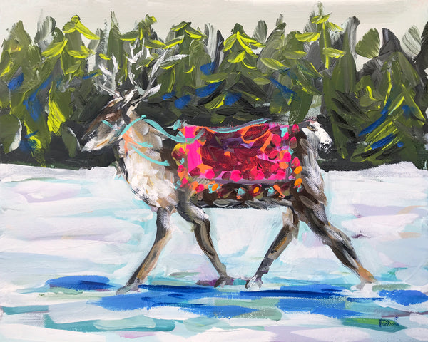 "Christmas Tree PRINT on Paper or Canvas, ""Reindeer"""