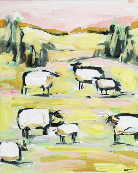 "Sheep Print on Paper or Canvas ""Sheep on Pink"""