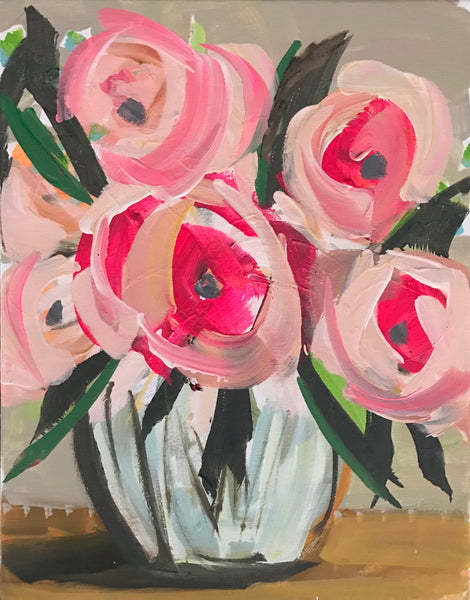 "Print of Roses Abstract on Paper or Canvas, ""Soft Roses"""