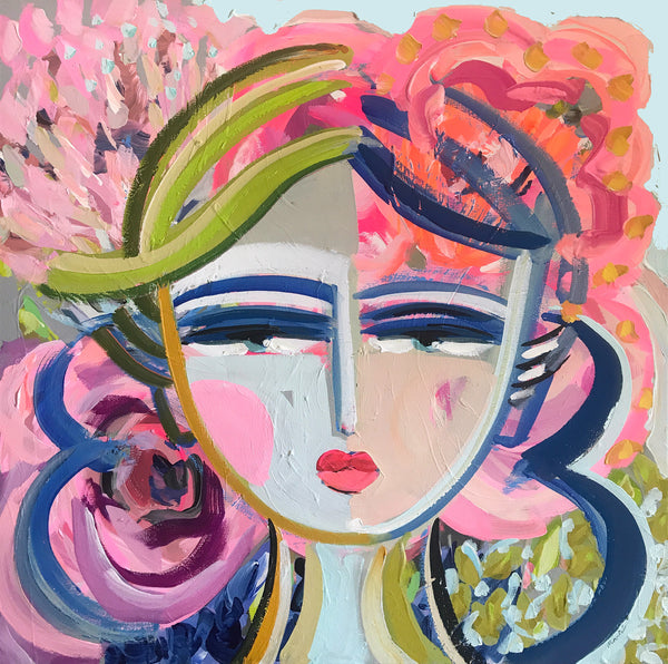 "Original Portrait Painting on Canvas ""Azalea"" 24"" x 24"" Square"