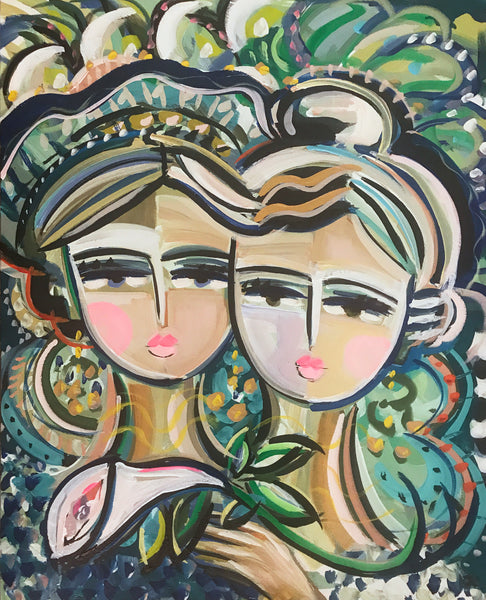 "Sisters Portrait on Paper or Canvas ""Sisters, Tropical"""