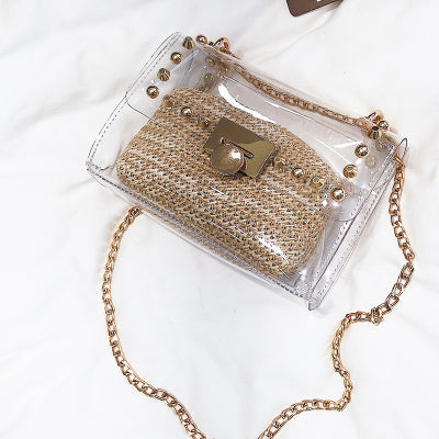 La Folie Transparent Crossbody Clutch