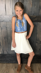 good mood, sundress, happy outfit, lace dress, chambray, tank, booties, boots, feel good outfit, daughters, girls clothing, tween outfits, cute dress, lolligagin