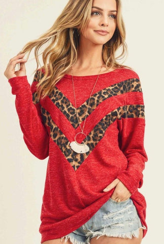 I've never met a leopard print that I didn't love!  The combination of red with chevron leopard print is so unique and trendy! You will fall in love at first sight with this one! Shop Lolligagin.com to purchase!