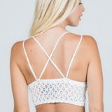 Off White Longline Lace Bralette