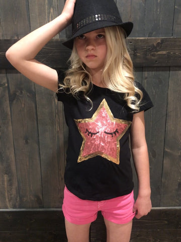 Sequin Star T-Shirt - Black