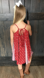 This adorable Red Spaghetti Strap Dress is perfect for any occasion.  Throw on a cardigan and some boots for your next holiday party or slip into some flip flops for your next beach trip! Shop Lolligagin.com to purchase.
